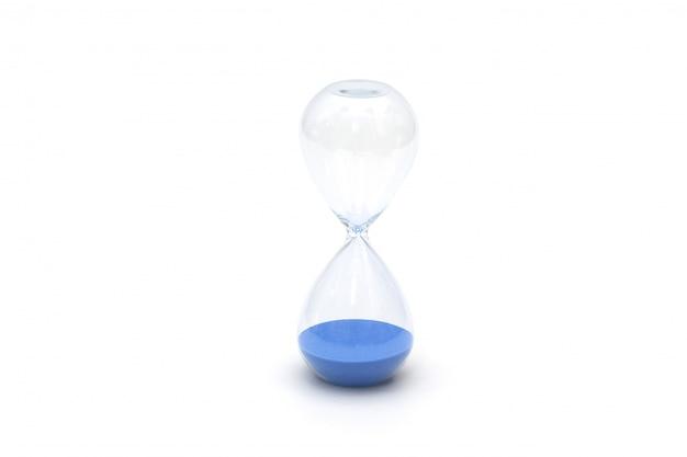 Relógio de areia azul isolado