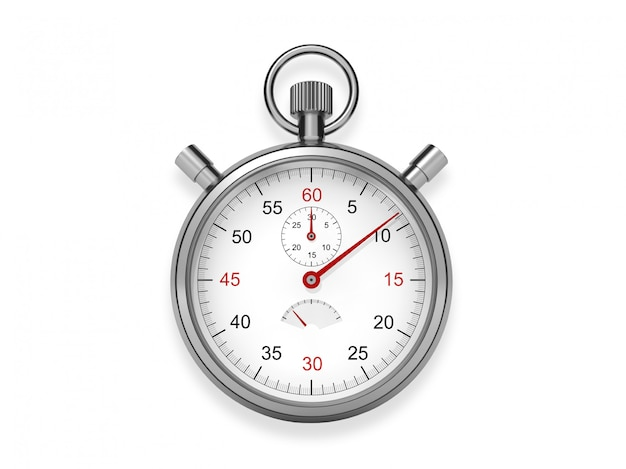 Relógio de bolso metálico no fundo branco