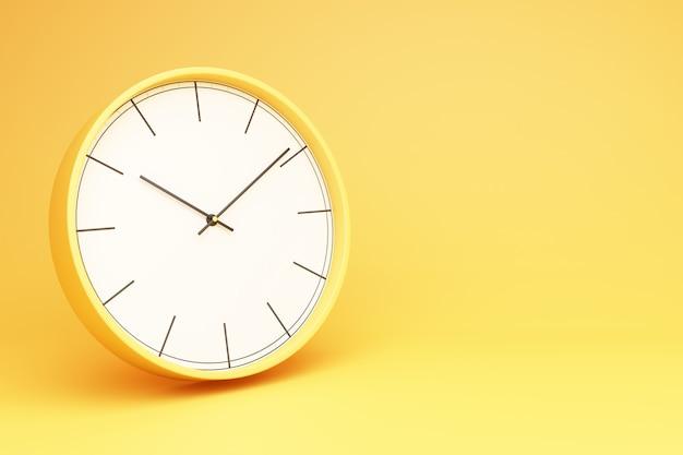Relógio de mesa redondo amarelo em uma renderização 3d de fundo amarelo