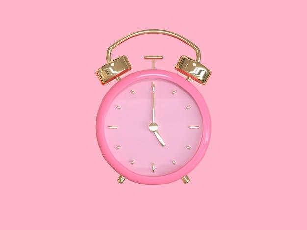 Relógio de ouro rosa / alarme renderização em 3d