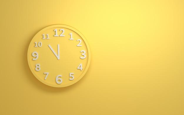 Relógio de parede amarelo com números brancos sobre fundo amarelo