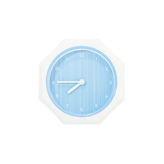 Relógio de parede azul closeup para decorar mostra um quarto para oito, isolado no fundo branco com traçado de recorte
