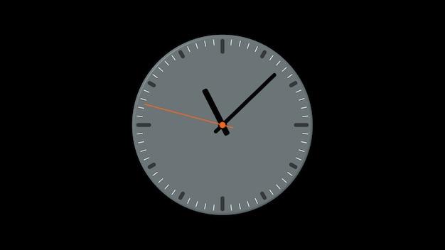 Relógio de parede cinza mostra as horas