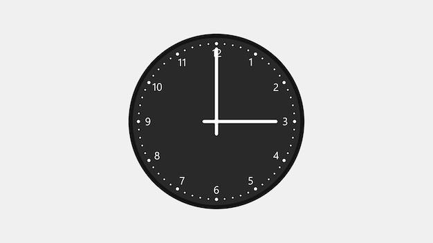 Relógio de parede com mostrador preto mostra três horas