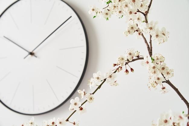 Relógio de parede e ramo de cereja desabrochando em fundo branco, vista frontal. decoração de interior