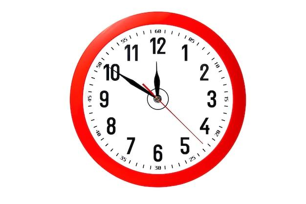 Relógio de parede vermelho isolado no branco