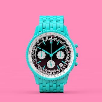 Relógio de pulso azul clássico de luxo analógico masculino no estilo duotônico em um fundo rosa. renderização 3d