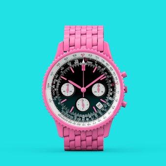 Relógio de pulso masculino analógico clássico de luxo rosa em estilo duotônico sobre fundo azul. renderização 3d