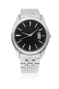Relógio de pulso masculino automático com pulseira de aço inoxidável isolada
