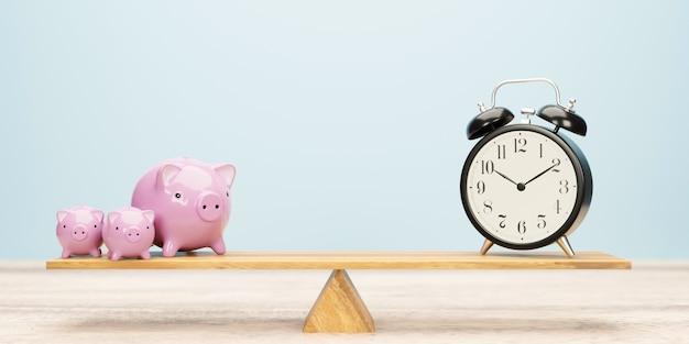 Relógio despertador e cofrinho equilibrando-se na gangorra. o tempo é o conceito de dinheiro. ilustração 3d