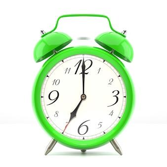 Relógio despertador em fundo branco com sombra. relógio de cor verde estilo vintage com ponteiros pretos.