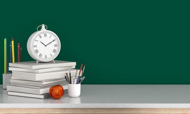 Relógio em livros para maquete, volta ao conceito de escola