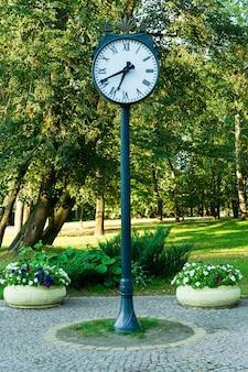 Relógio em um parque verde ao ar livre perto de canteiros de flores