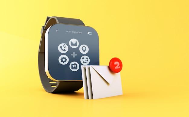 Relógio esperto 3d que indica a notificação nova da mensagem.