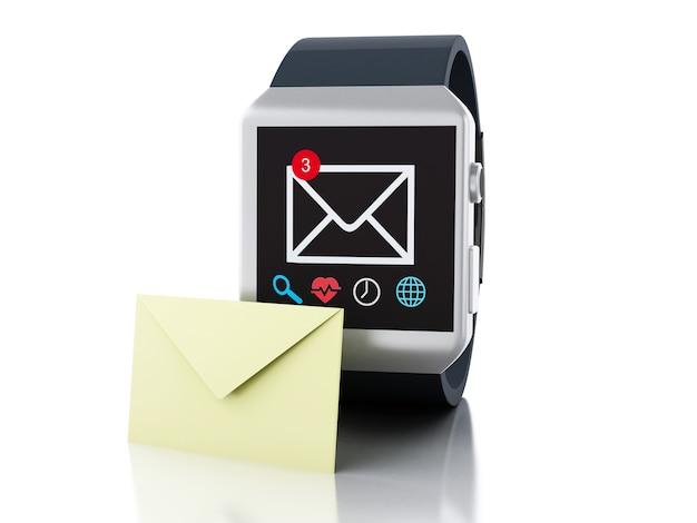 Relógio inteligente 3d com o ícone de mensagem não lida. conceito de tecnologia