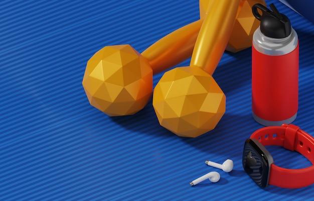 Relógio inteligente e ginásio exercício equipamentos.