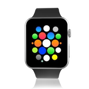 Relógio inteligente genérico preto com ícones