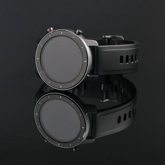 Relógio inteligente sem fio em uma caixa redonda preta fosca com riscos na borda e uma pulseira de silicone em um vidro preto com reflexo.
