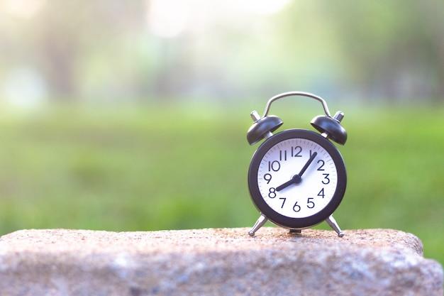 Relógio na mesa de pedra no jardim verde com espaço de cópia