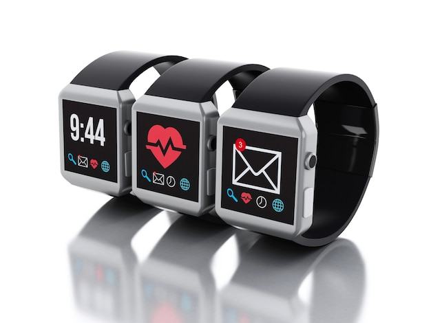Relógios 3d inteligentes. conceito de tecnologia