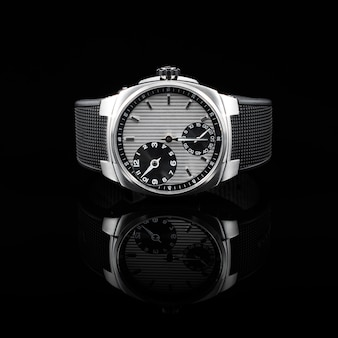 Relógios suíços em fundo preto
