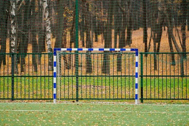Relva artificial, cobertura de campo desportivo com baliza de futebol. grama artificial usada em diferentes esportes