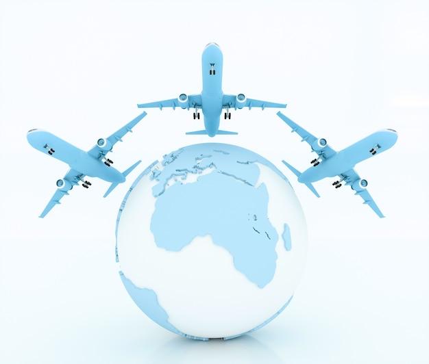 Remessa internacional e entrega de mercadorias, ilustração 3d