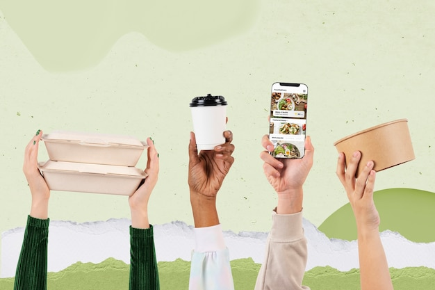 Remix de conceito de entrega de embalagens de alimentos ecologicamente corretas