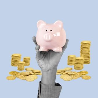 Remix de conceito de poupança financeira de mão de cofrinho