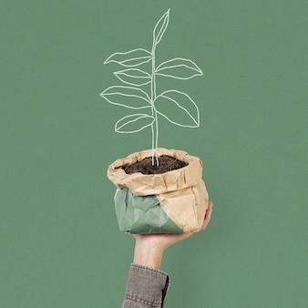Remix de ilustração ecologicamente correta com plantio sustentável