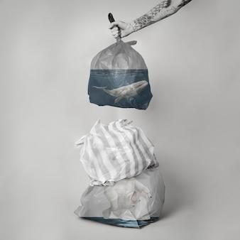 Remix de mídia da campanha de redução de plástico de uso único da poluição do oceano