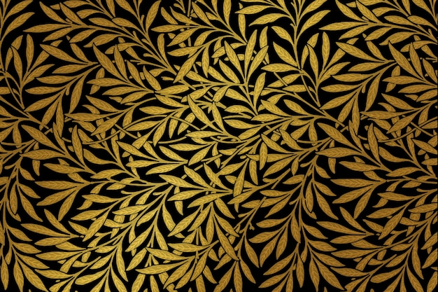 Remix de padrão de folha dourada vintage de uma obra de arte de william morris