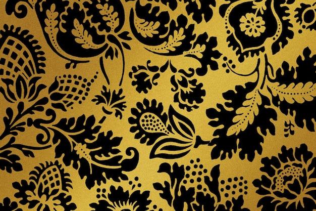 Remix de padrão floral dourado vintage da arte de william morris