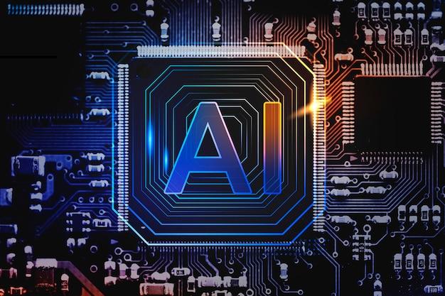 Remix de tecnologia de inovação futurística de fundo de microchip de tecnologia de ia