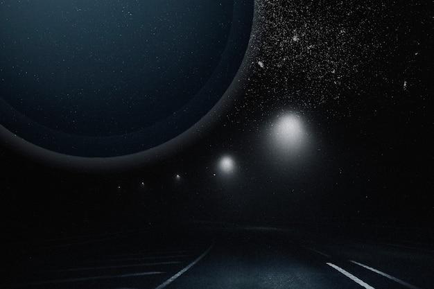 Remix estético de céu estrelado com fundo de galáxia escura e estrada