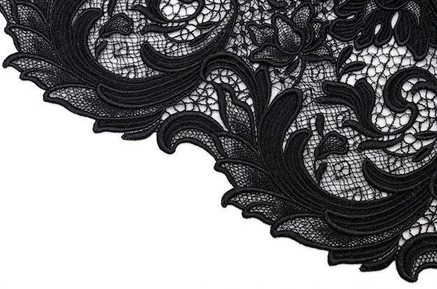 Renda de tecido de algodão preto