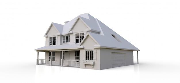 Renda de uma casa de campo americana clássica. ilustração 3d
