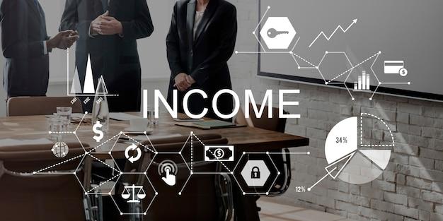 Renda, salário, vendas, retorno, dinheiro, conceito