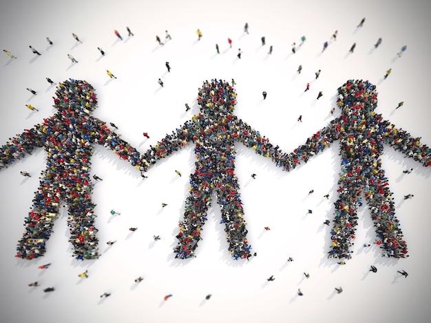 Rendendo multidão de pessoas que formam o símbolo da solidariedade no mundo