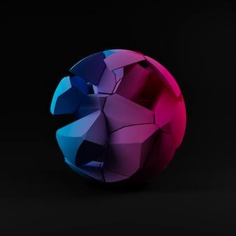 Render 3d abstrato, fundo de esfera rachada