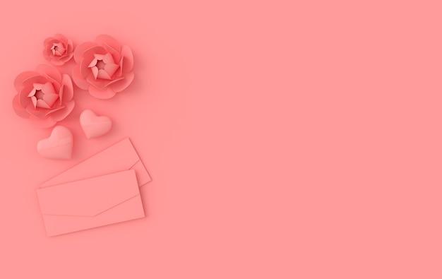 Render com flores de papel corações rosa brilhante e envelope de papel