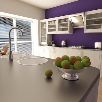 Render da cozinha contemporânea 3d