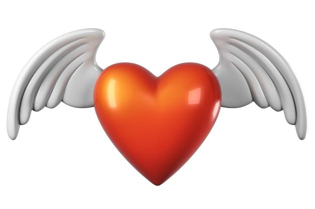 Render de formato de coração com asas isoladas
