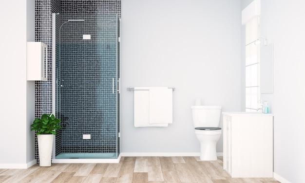 Render mínimo de banheiro cinza