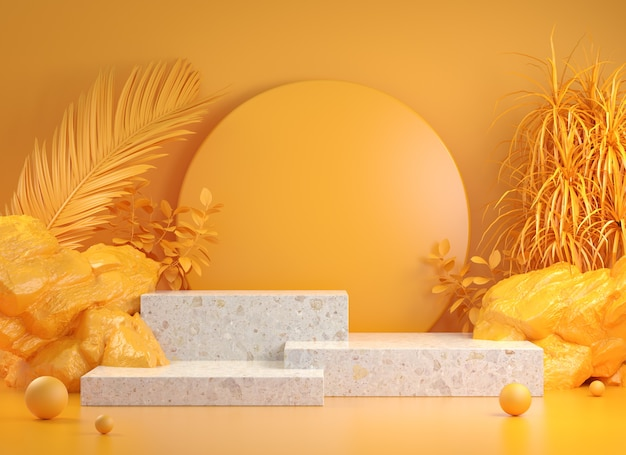 Rendering step podium with yellow tropic forest concept