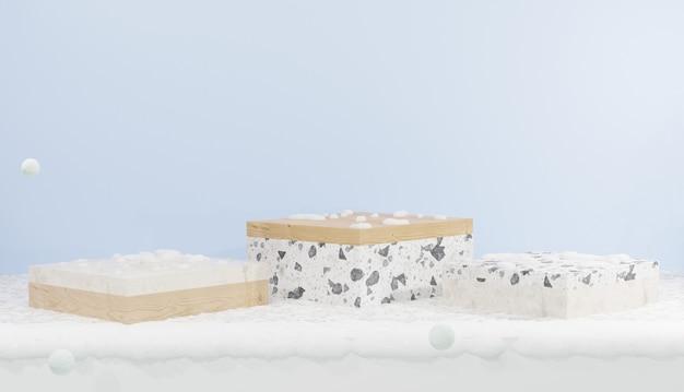Renderização 3d 3 pódio em forma de cubo coberto com tema de neve e inverno para produtos de demonstração