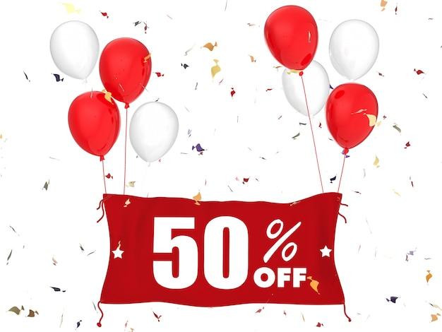 Renderização 3d 50% de venda do banner no fundo branco