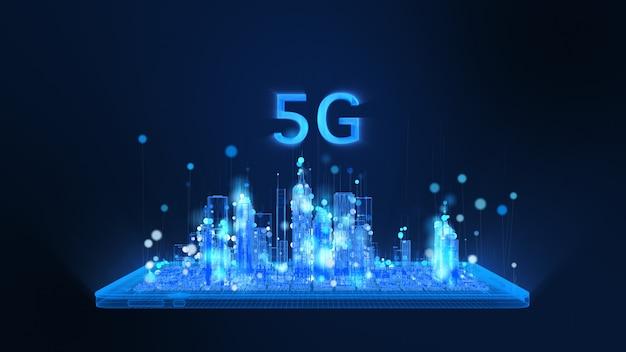 Renderização 3d, 5g, tablet digital brilhante e estrutura de arame da cidade em partículas de cores brilhantes de azul e branco, a linha de partículas da esfera sobe. conceito de tecnologia e comunicação digital.