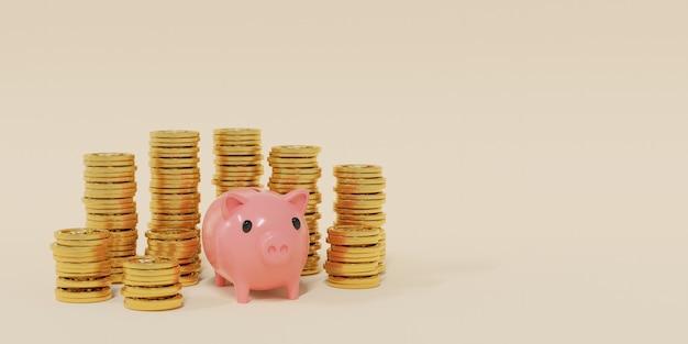 Renderização 3d a conceito de economizar dinheiro com moedas em torno de um cofrinho rosa sobre fundo creme.