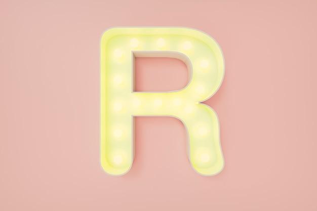 Renderização 3d. a letra maiúscula r com lâmpadas